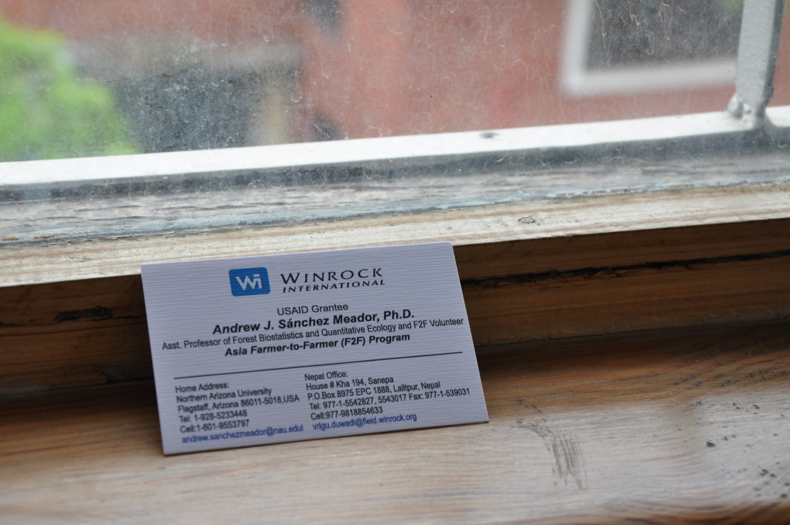 My Winrock business card